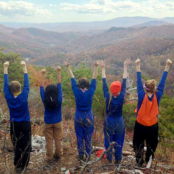 Children Raising Hands Outside